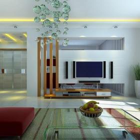 挑高客厅电视背景墙装修效果图