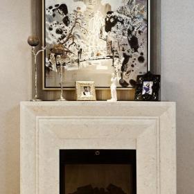 新古典客厅背景墙具有艺术气息的壁炉设计装修效果图