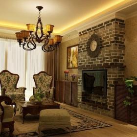 鉑宮海派風格客廳壁爐背景墻裝修效果圖