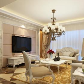 簡歐家裝客廳硬包電視墻效果圖