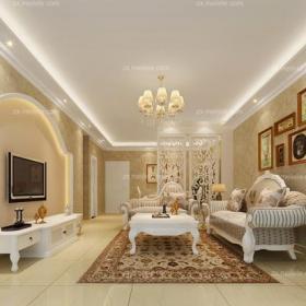 歐式客廳的時尚魅惑面積:30平米效果圖