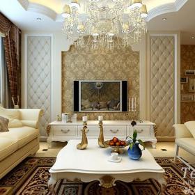 復式樓歐式風格復式客廳電視背景墻效果圖歐式風格吊頂圖片