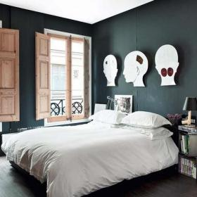 单身公寓卧室客厅背景墙寓意鲜明的床头背景墙装修效果图