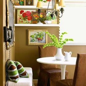 客廳背景墻餐桌餐椅鄉村一居小戶型凝聚藝術的小餐廳設計效果圖