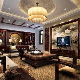 新中式风格别墅客厅沙发装修效果图