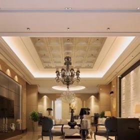 2012歐式別墅裝修效果圖 別墅客廳吊頂效果圖