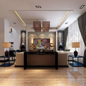 新中式别墅客厅电视柜装修图片效果图