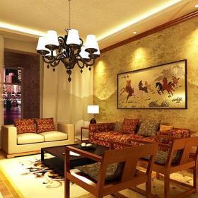 新中式风格客厅背景墙装修效果图新中式风格实木茶几图片