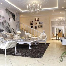 130㎡三居室欧式风格客厅石膏板吊顶装修效果图欧式风格茶几图片