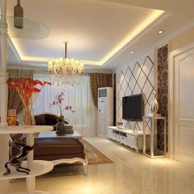 简欧风格室内客厅博古架装修设计装修效果图