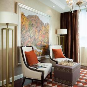 地毯沙发背景墙客厅沙发客厅背景墙新古典风格的休闲角落设计装修效果图
