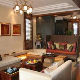 東南亞風格客廳沙發背景墻裝修效果圖東南亞風格茶幾圖片