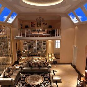 挑空客廳地下室客廳沙發別墅茶幾簡歐客廳家具地下挑空二層客廳整體裝修效果圖
