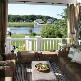 歐式別墅茶幾寬敞陽臺空間的客廳設計效果圖欣賞
