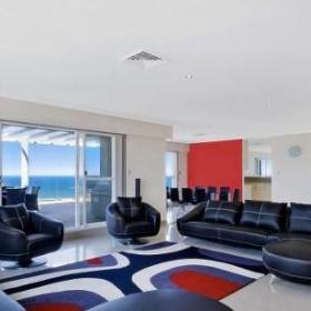 大客厅黑色对称沙发效果图大全2014图片
