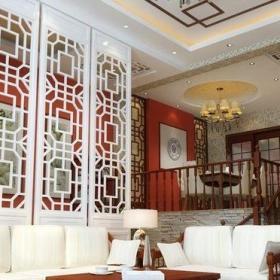 白色混搭客厅中式混搭风格别墅客厅沙发装饰图效果图
