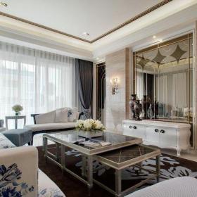 混搭客厅混搭风格四居室136㎡白色客厅效果图