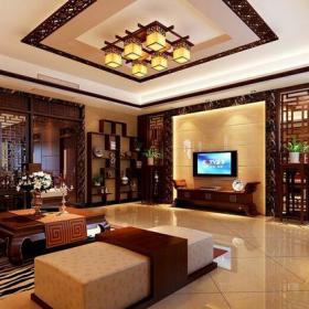 中式风格客厅带花格的电视背景墙装修效果图中式风格茶几图片