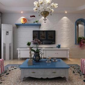 电视背景墙蓝色白色地中海风格客厅电视墙装修效果图