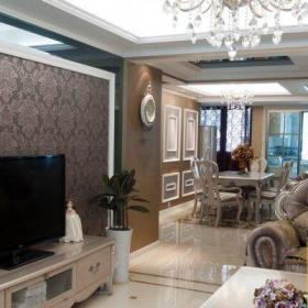 简欧或混搭二居室客厅装修效果图大全