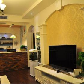 黄色电视背景墙地中海实拍图客厅电视墙效果图