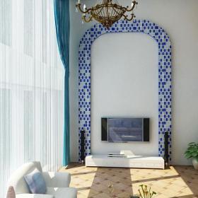 混搭背景墻電視柜大戶型復式樓客廳客廳背景墻用馬賽克圍成的電視背景墻裝修效果圖