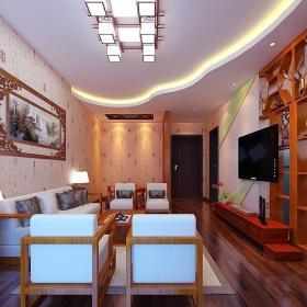 中式客廳背景墻博古架隔斷裝修效果圖