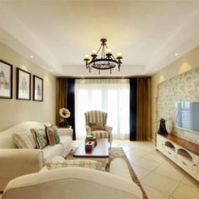 电视柜地柜沙发茶几客厅吊灯简约欧式风格客厅电视背景墙装修图片效果图