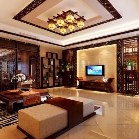 中式風格客廳背景墻裝修效果圖中式風格博古架圖片