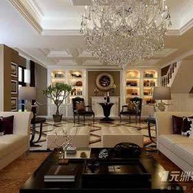 復式樓歐式新古典風格復式客廳裝修效果圖歐式新古典風格吊燈圖片