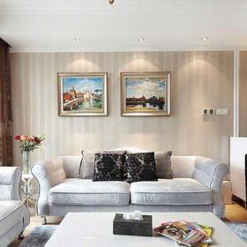 大气新古典风格舒适小复式新古典客厅效果图