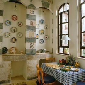 二手房餐桌餐椅客厅背景墙法式别出心裁的餐厅背景墙装修效果图