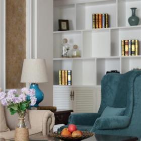 美式风格客厅博古架效果图