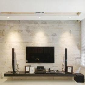 客厅硬朗简约石材电视背景墙效果图