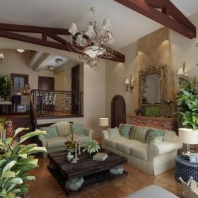 乡村风格别墅客厅背景墙装修效果图乡村风格吊灯图片