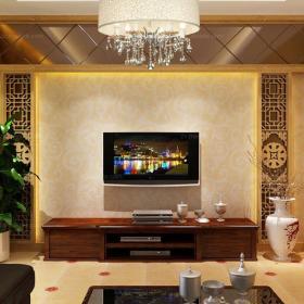 電視背景墻吊燈電視柜燈飾背景墻120㎡三居大戶型富含中式文化底蘊設計的迷人客廳效果圖欣賞