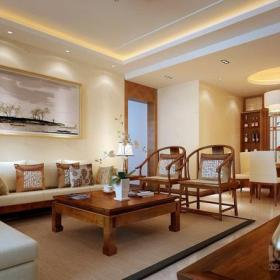 150平大户型新中式风格客厅沙发背景墙装修效果图新中式风格柚木方茶几图片