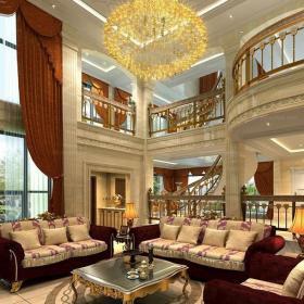 燈飾吊頂新古典躍層客廳沙發復古別墅,盡顯無盡奢華裝修效果圖