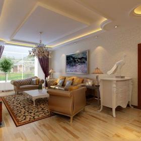 實木茶幾沙發客廳背景墻電視柜簡歐最時尚的客廳吊頂裝修效果圖