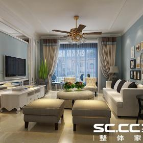 電視柜臺燈沙發簡約歐式茶幾電視背景墻照片墻啟新117㎡淺藍色客廳墻色裝修效果圖