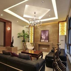 日式别墅客厅吊顶效果图片效果图