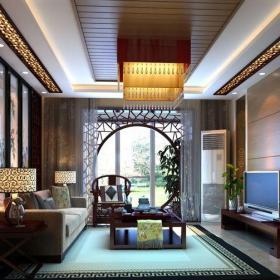 原木色中式客厅别墅130平米大气典雅中式风格客厅装修效果图