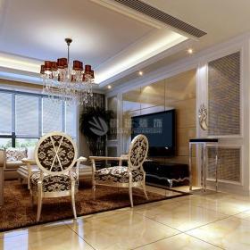 台灯家具简欧吊灯地毯椅凳客厅吊顶土黄色客厅石材电视背景墙装修效果图