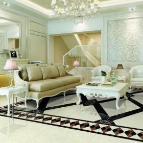简欧客厅瓷砖铺贴效果图