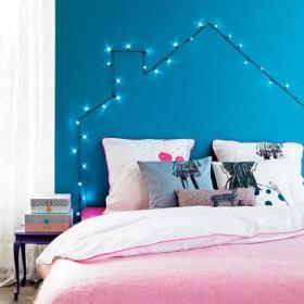 卧室客厅背景墙蓝色彩灯床头背景墙装修效果图