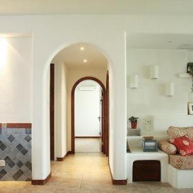110平米浪漫地中海風格客廳過道114平地中海客餐廳過道設計效果圖