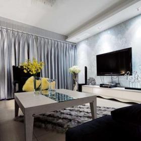 混搭沙发茶几客厅背景墙夏花样板间客厅效图果效果图大全