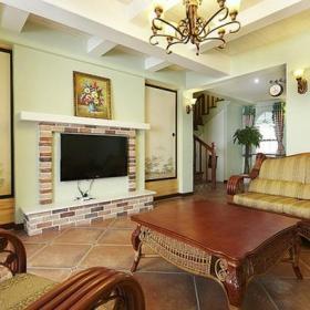 美式復式樓電視背景墻客廳壁爐造型復古電視墻圖片裝修效果圖