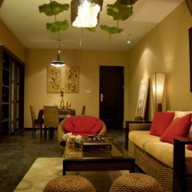 東南亞風格客廳裝修圖片東南亞風格實木沙發圖片效果圖