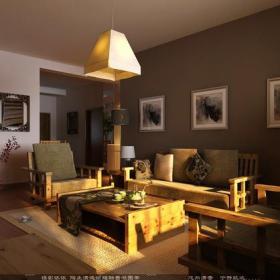 實木沙發椅實木茶幾裝飾畫家居擺件實木家具吊燈背景墻茶幾136㎡三居室簡約中式風格客廳背景墻裝修圖片簡